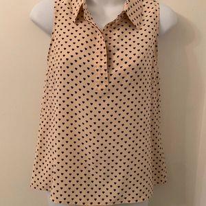 equipment silk sleeveless tunic top blouse hearts